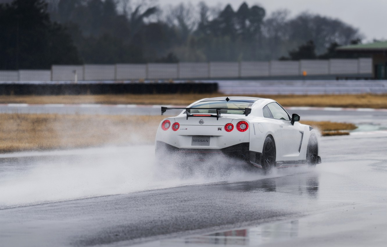 Photo wallpaper white, water, Nissan, GT-R, track, R35, Nismo, 2019