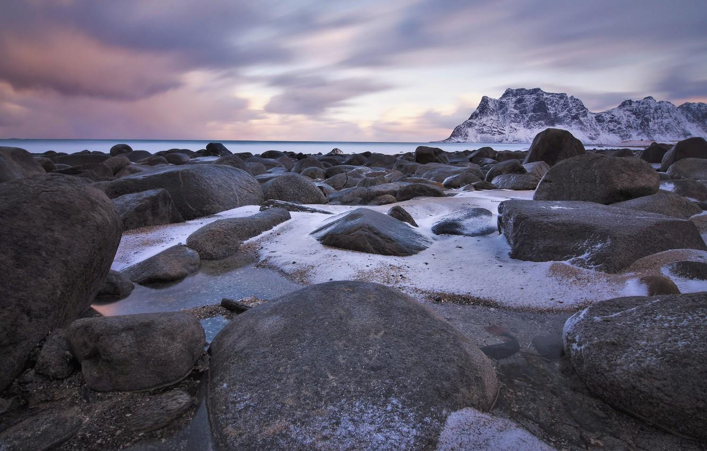 Photo wallpaper winter, snow, stones, rocks, shore, Norway, pond