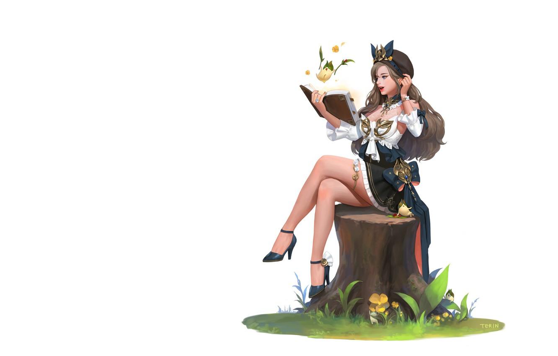 Photo wallpaper girl, anime, art, book, stump, illust, who sweat