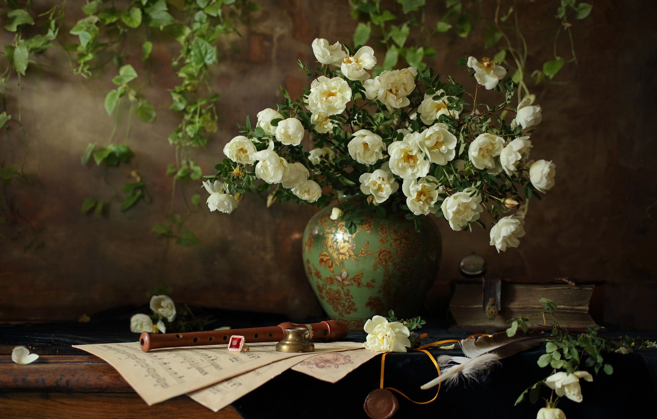Photo wallpaper flowers, style, notes, pen, roses, ring, briar, book, vase, still life, flute, Andrey Morozov