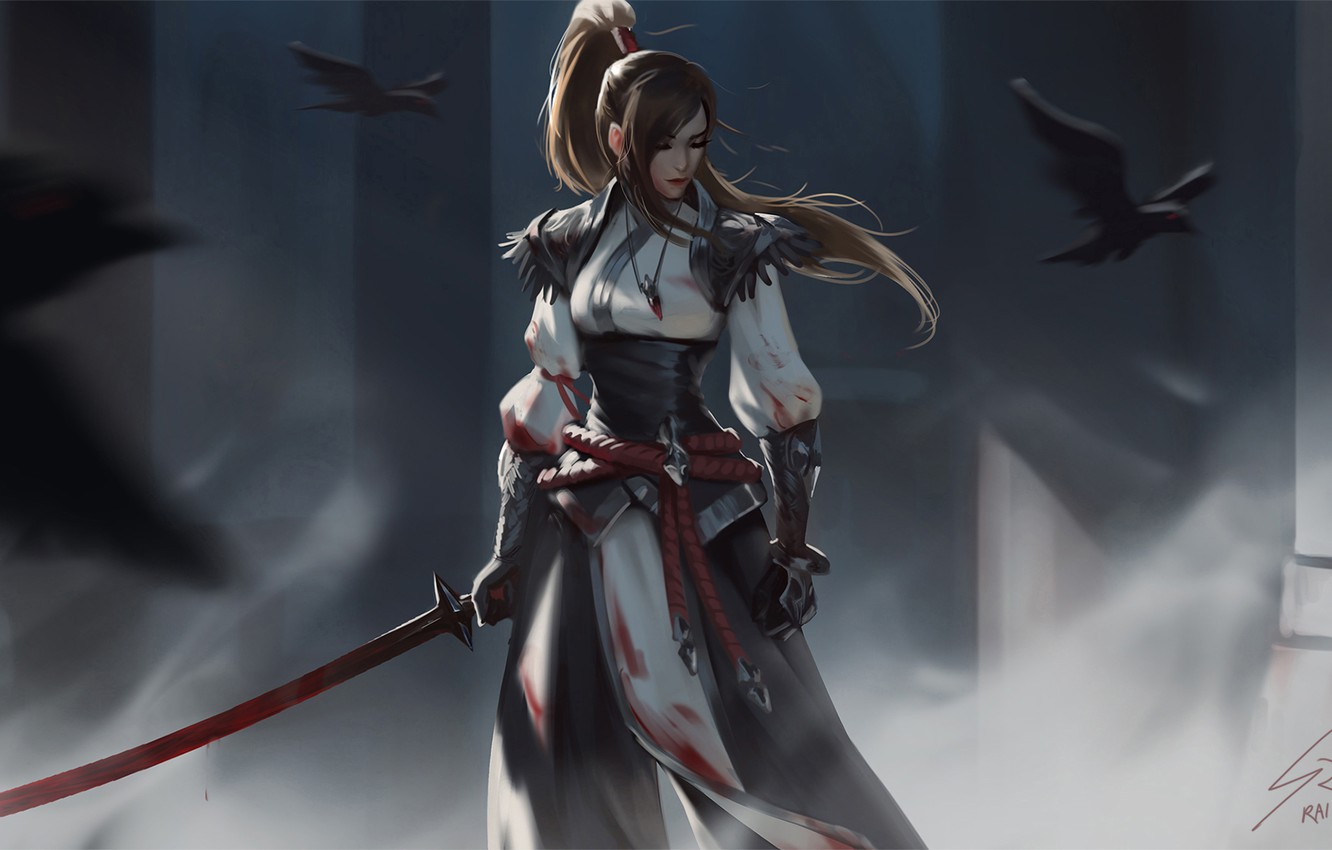 Photo wallpaper look, girl, birds, weapons, warrior, fantasy, art, Raven