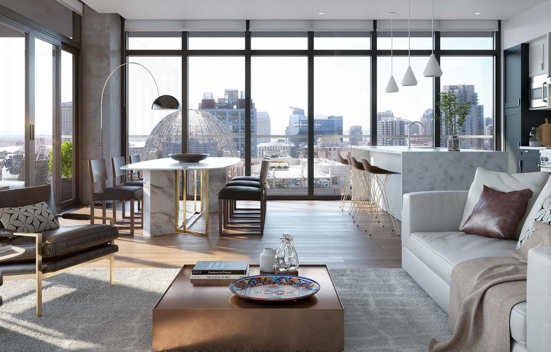 Wallpaper Interior Kitchen Penthouse Megapolis Downtown Dining
