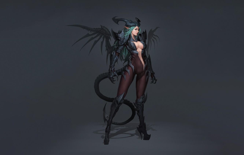 Photo wallpaper Girl, Fantasy, Art, Style, Background, Illustration, Minimalism, Lee, Character, Eusang, Demon Succubus