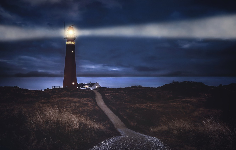 Photo wallpaper night, shore, lighthouse
