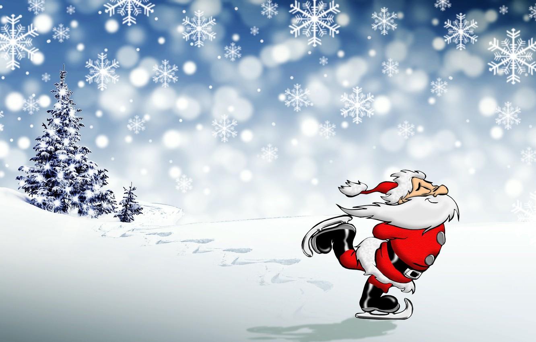 Photo wallpaper photo, Snowflakes, New year, Beard, Santa Claus, Skates