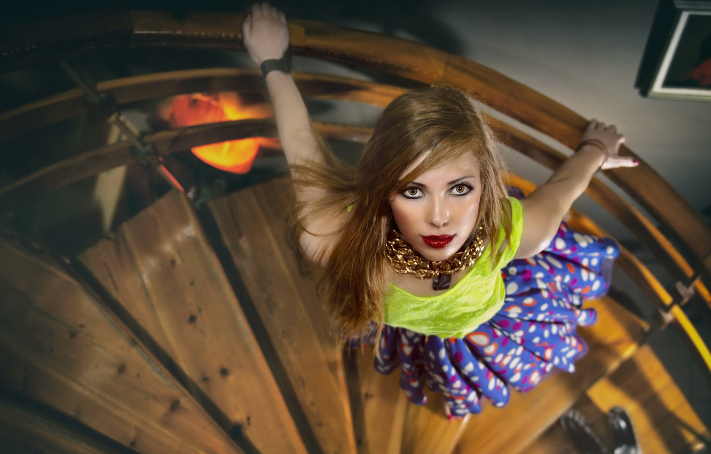 Photo wallpaper look, girl, ladder
