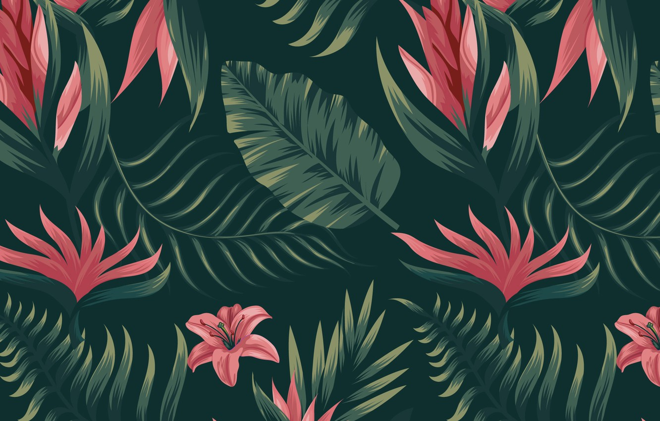 Photo wallpaper background, texture, Flower, flowers, pattern, Background, Tropical, Pattern