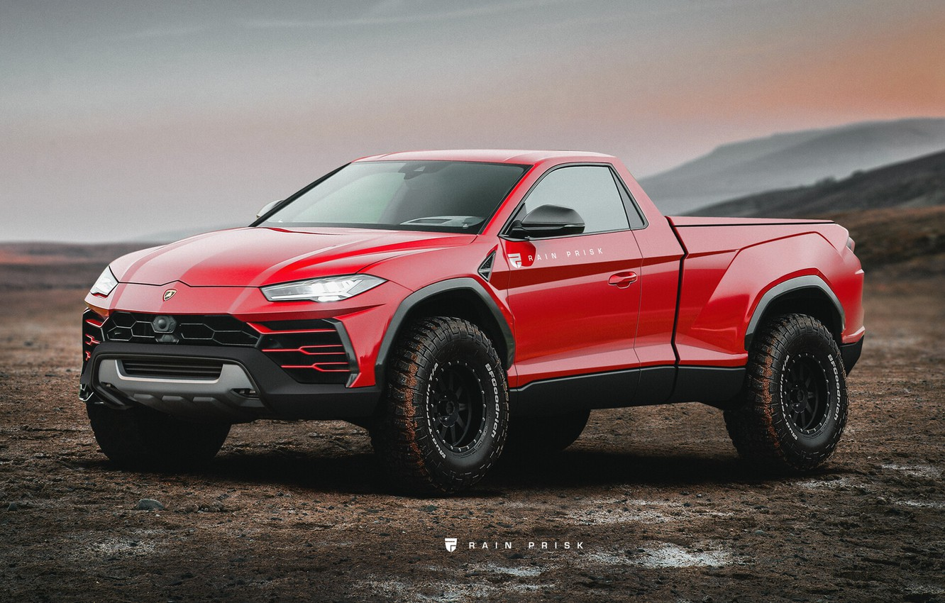 Wallpaper Red Lamborghini Machine Pickup Pickup Concept Art