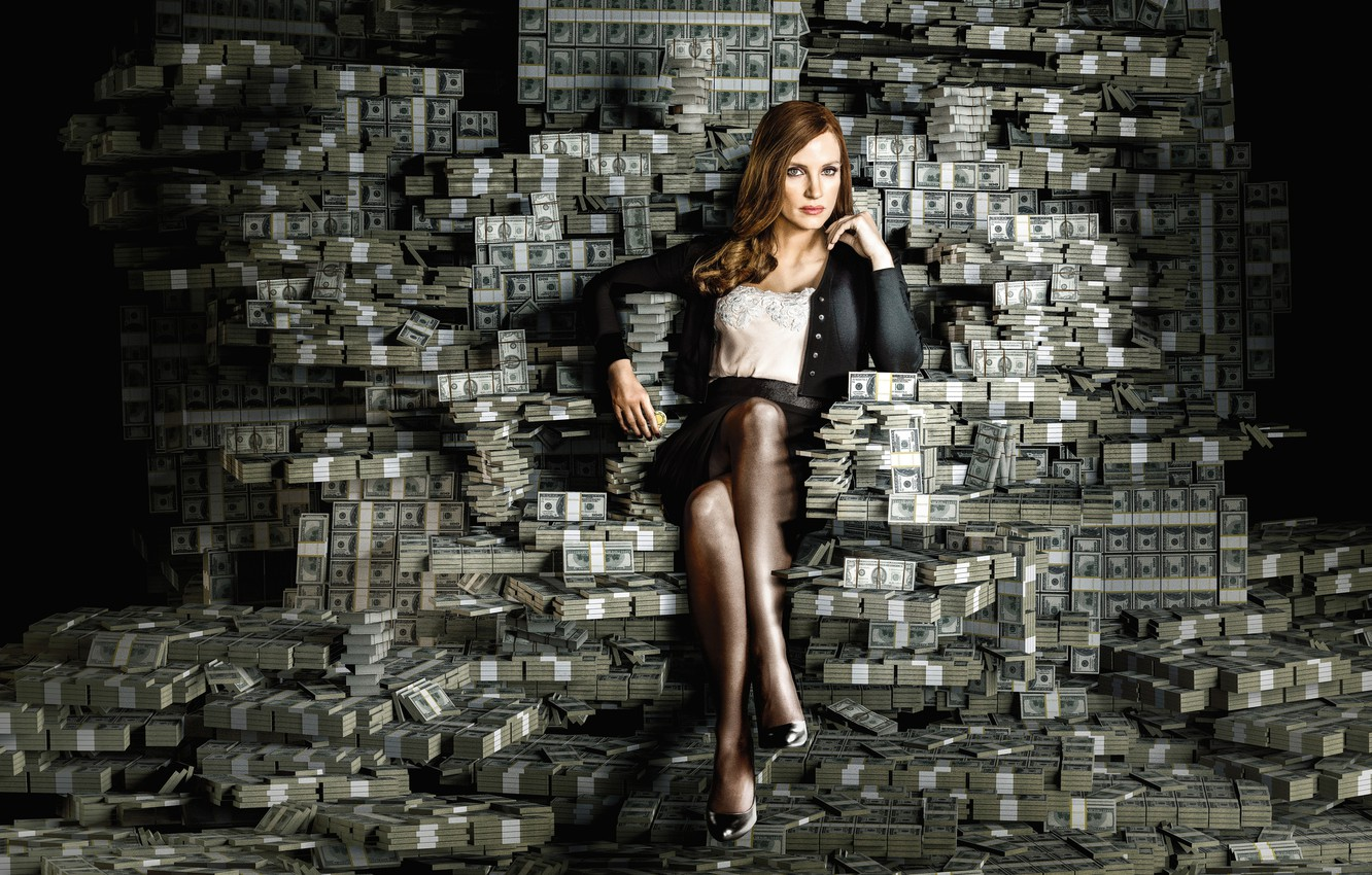 Photo wallpaper girl, money, dollars, currency, Jessica Chastain, Molly's Game, Great game