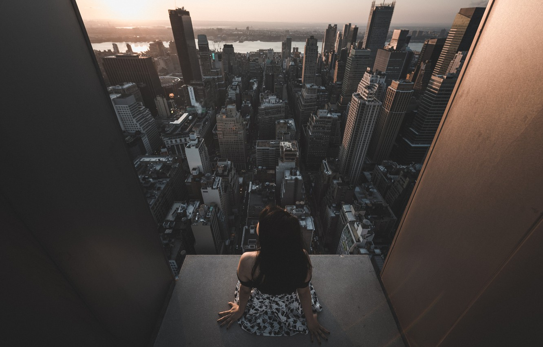 Photo wallpaper girl, sunset, skyscraper, architecture, Urban landscape, Jason Liu