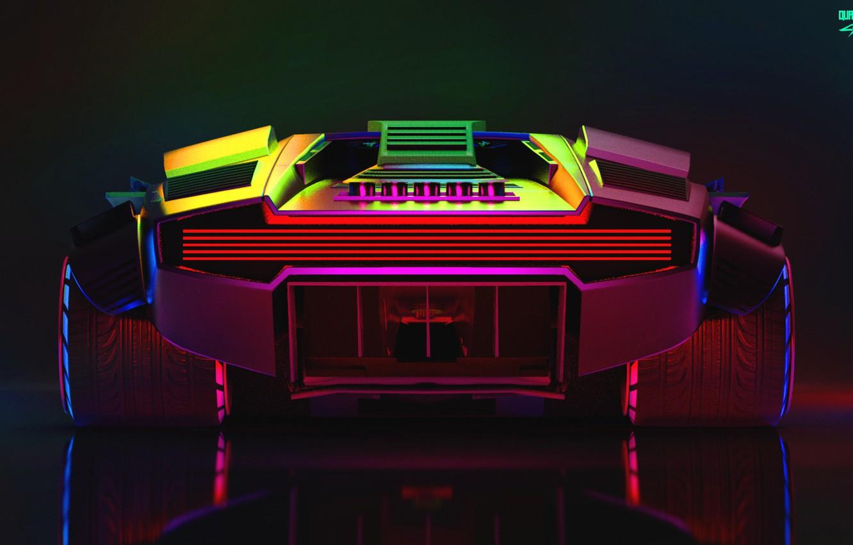 Photo wallpaper Auto, Lamborghini, Neon, Machine, Car, Art, Neon, Countach, Rendering, Concept Art, Lamborghini Countach, Cyberpunk 2077, …