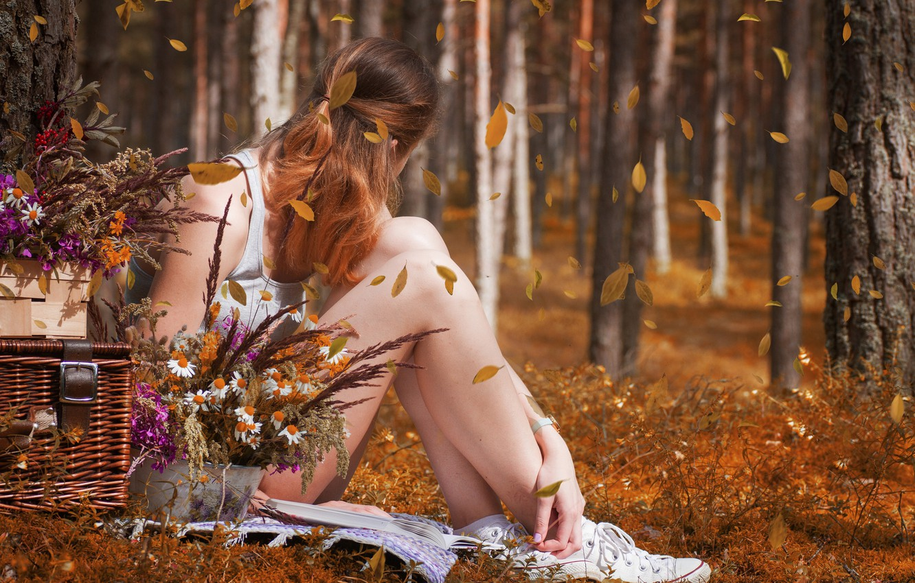 Photo wallpaper girl, flowers, bokeh, box, the leaves are falling, autumn in the forest, a sadness
