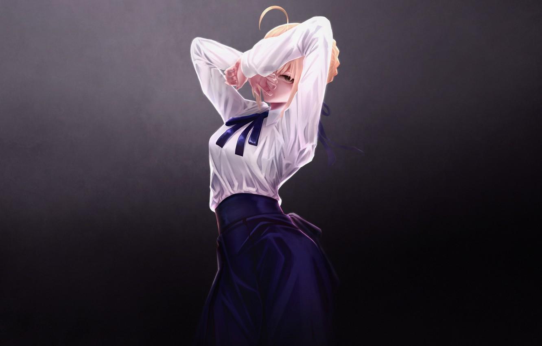 Photo wallpaper Girl, Art, Style, Blonde, Illustration, Minimalism, Saber, Character, Mr. Holmes, Artoria Pendragon, FGO