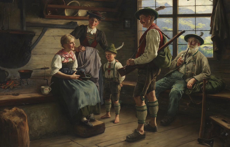 Photo wallpaper 1919, German painter, German painter, Emil Rau, Emil Rau, Locking of the hunter on the ...