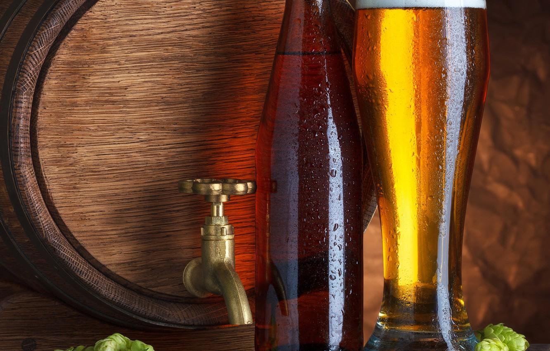 Photo wallpaper foam, beer, barrel, hops