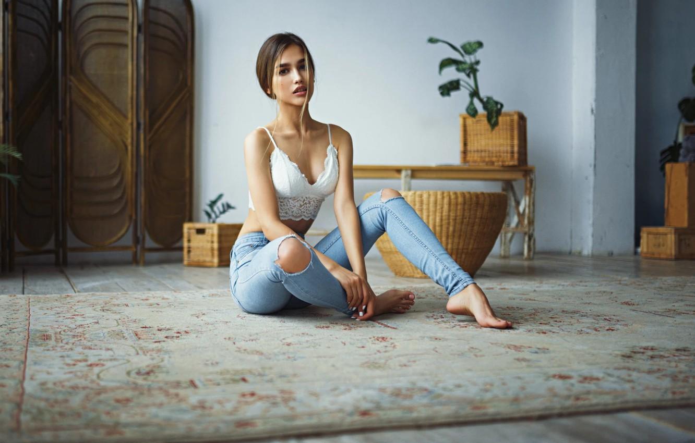 Photo wallpaper girl, jeans, sitting, Sergey Fat, Anastasia Lis, Sergey Zhirnov