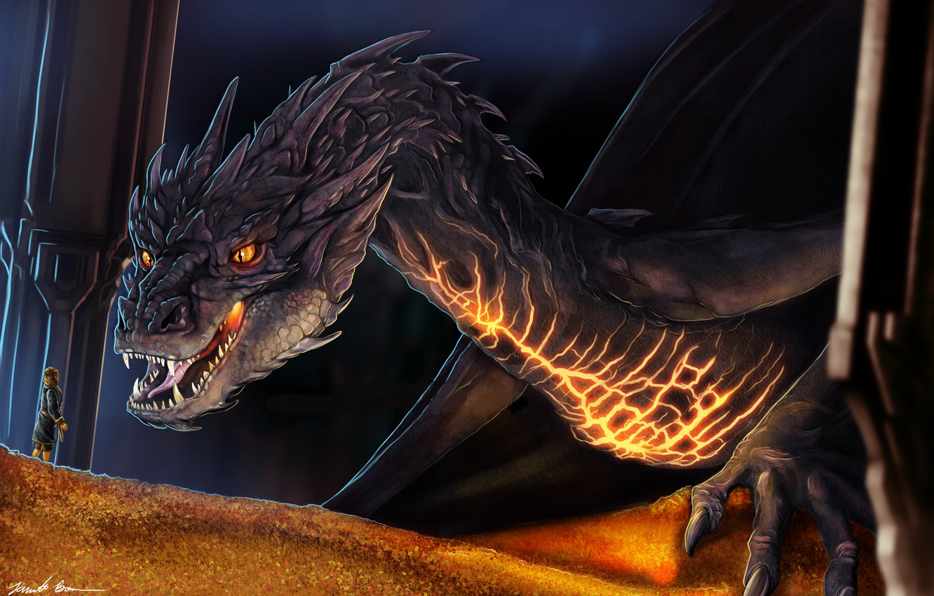 Wallpaper Dragon Art Treasures The Hobbit Smaug By Sugarpoultry Images For Desktop Section Filmy Download