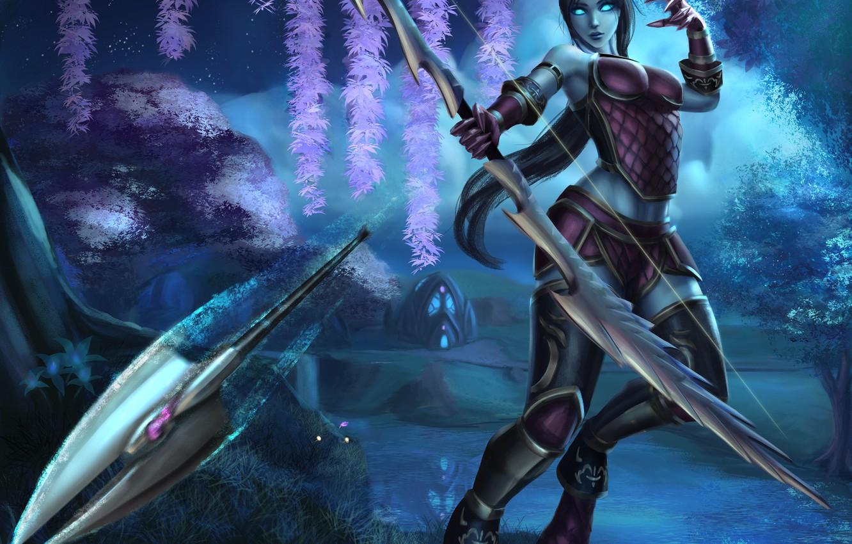 Photo wallpaper girl, bow, arrow, Draenei, World Of Warcraft, Woman Warrior
