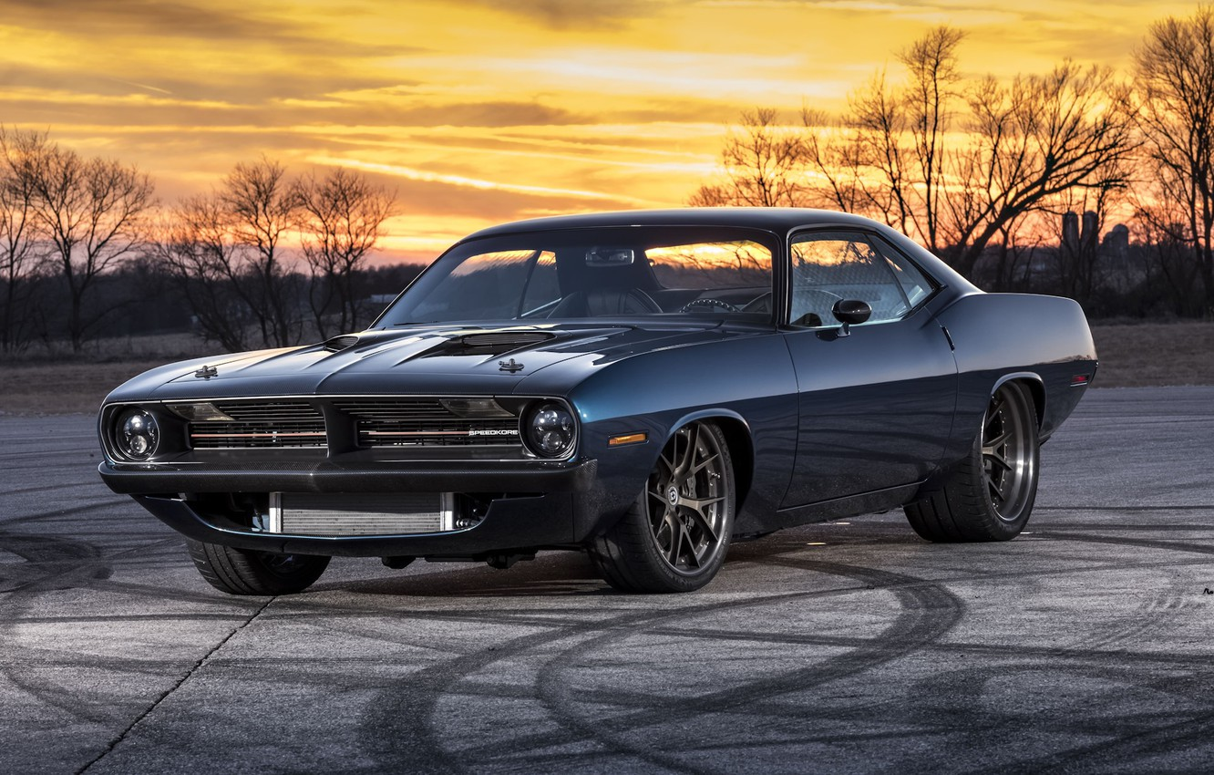 Photo wallpaper Muscle, Plymouth, Cuda, Vehicle, Modified, Speedkore