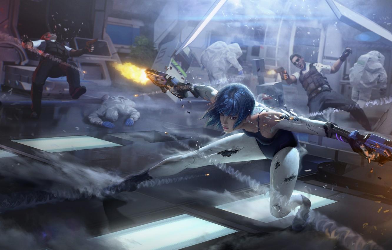 Photo wallpaper girl, fiction, Weapons, guys, Games, the fire, Cyberpunk, Cyber hunter