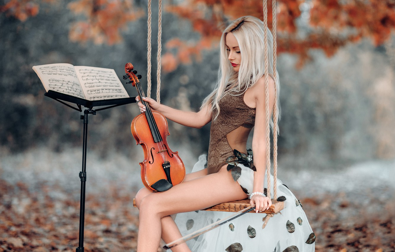 Photo wallpaper autumn, girl, pose, notes, swing, mood, violin, figure, blonde, Acts Novels