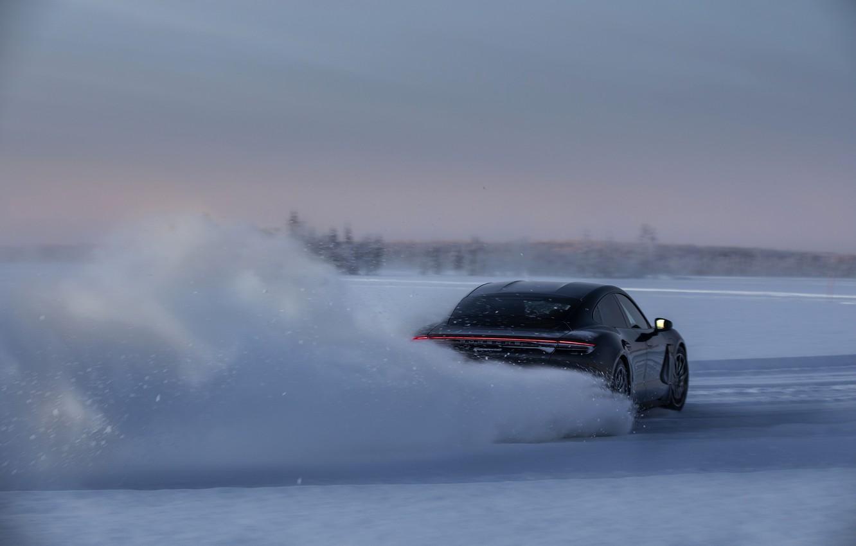 Photo wallpaper snow, black, ice, Porsche, track, slide, 2020, Taycan, Taycan 4S