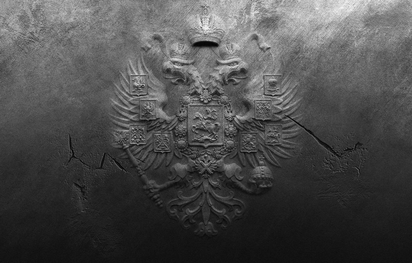 Photo wallpaper cracked, wall, spot, coat of arms, Russia, roughness
