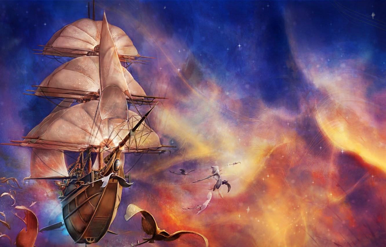Photo wallpaper space, fantasy, flying, ship, artwork, fantasy art, creature, sails, Sailing ship