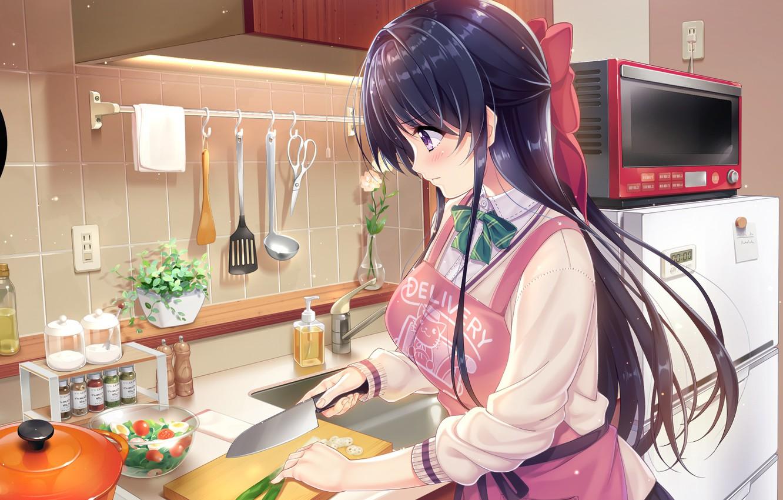 Photo wallpaper flowers, Girl, art, kitchen, knife, instrumento, bow, Anime, Shounen, apron, gotowka