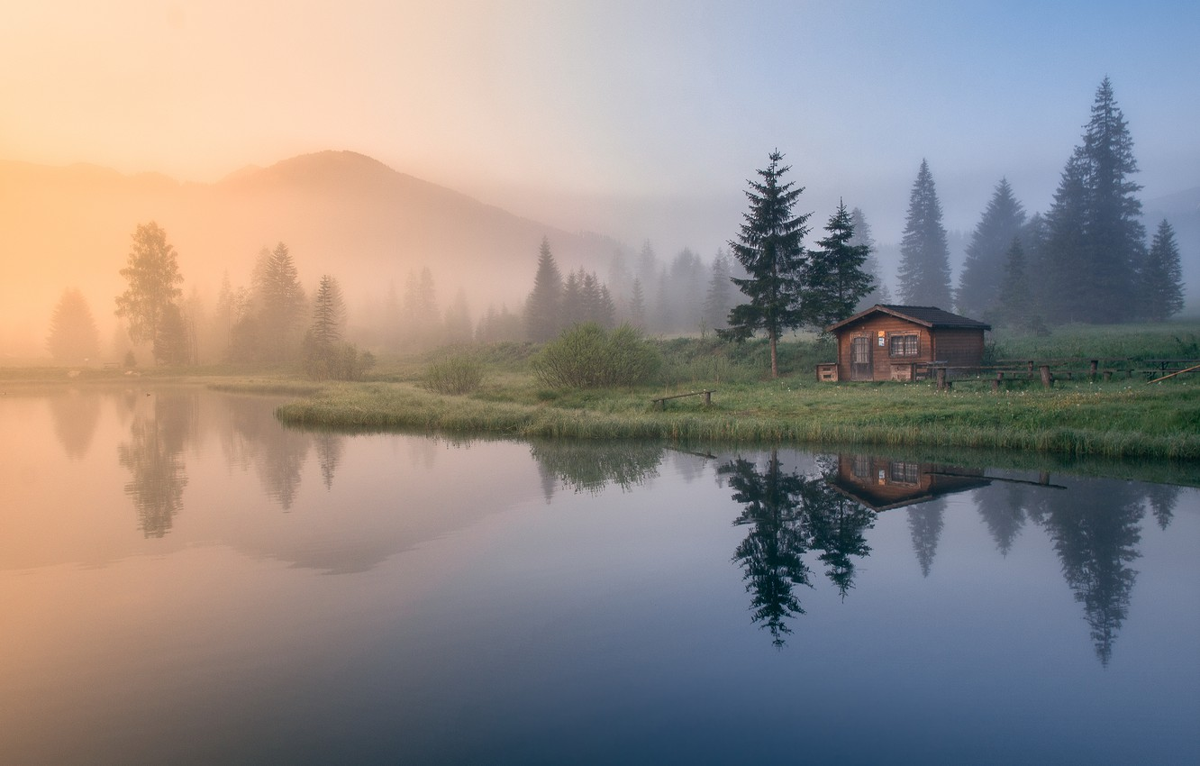 Photo wallpaper forest, mountains, fog, house, reflection, morning, ate, house, pond
