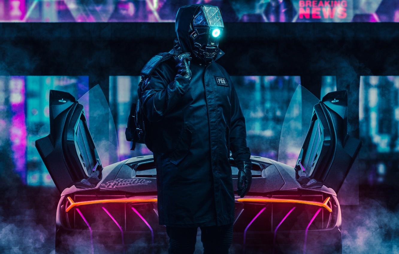 Photo wallpaper Robot, Neon, Car, Fantasy, Art, Robot, Neon, Cyborg, Cyborg, Cyberpunk, Transport & Vehicles, by Ilya …