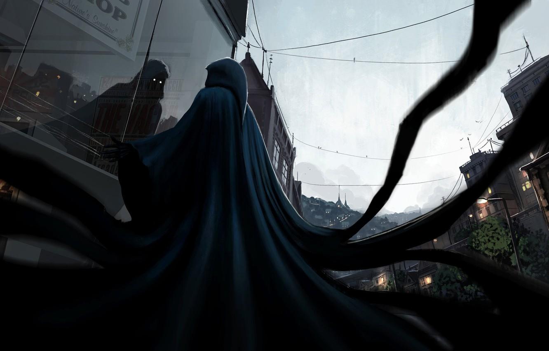 Photo wallpaper Reflection, The evening, The city, Monster, Dark, City, The demon, Darkness, Fantasy, Ghost, Evening, Spirit, …