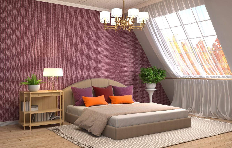 Photo wallpaper design, house, bed, interior, window, chandelier, bedroom
