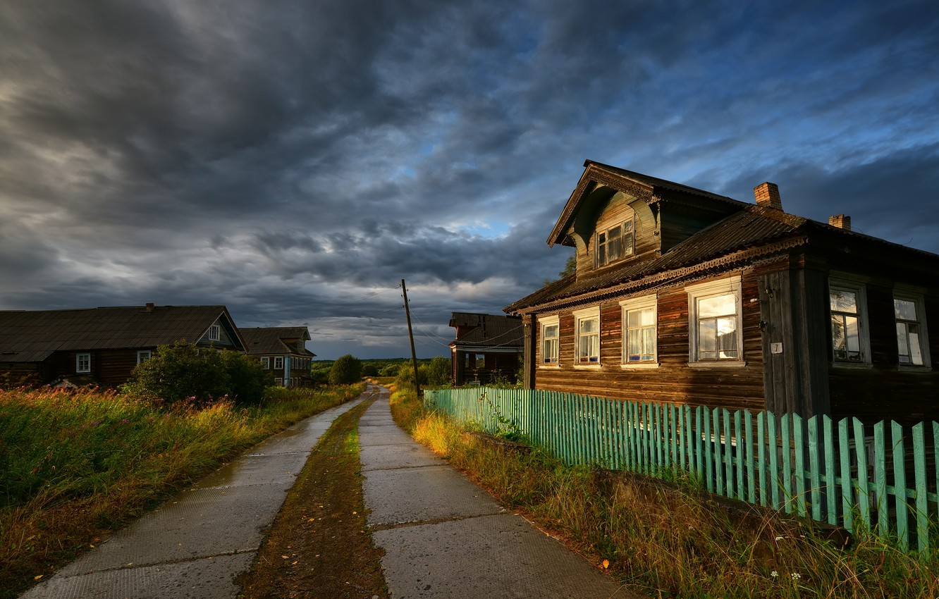 Photo wallpaper road, house, village, the fence, home, village, houses, wooden, Russia, hut, the provincial landscape