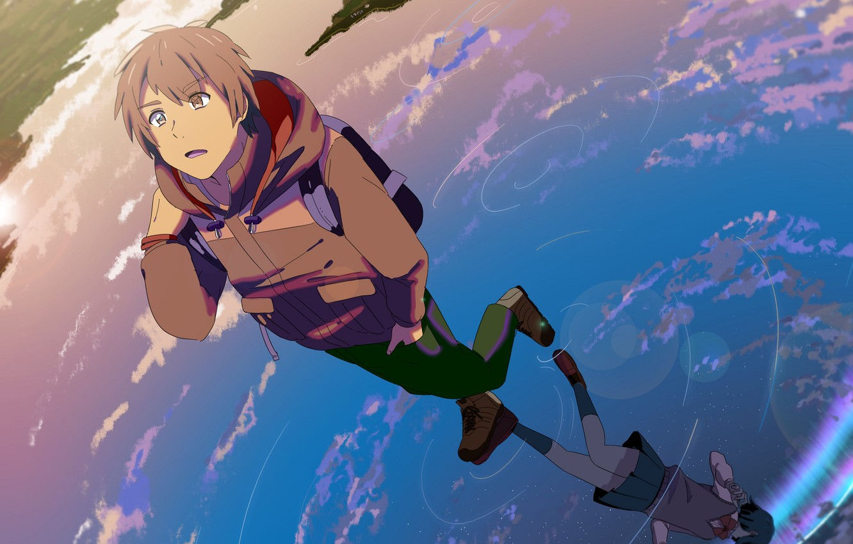 Photo wallpaper water, girl, reflection, anime, art, guy, Kimi no VA On, Your name