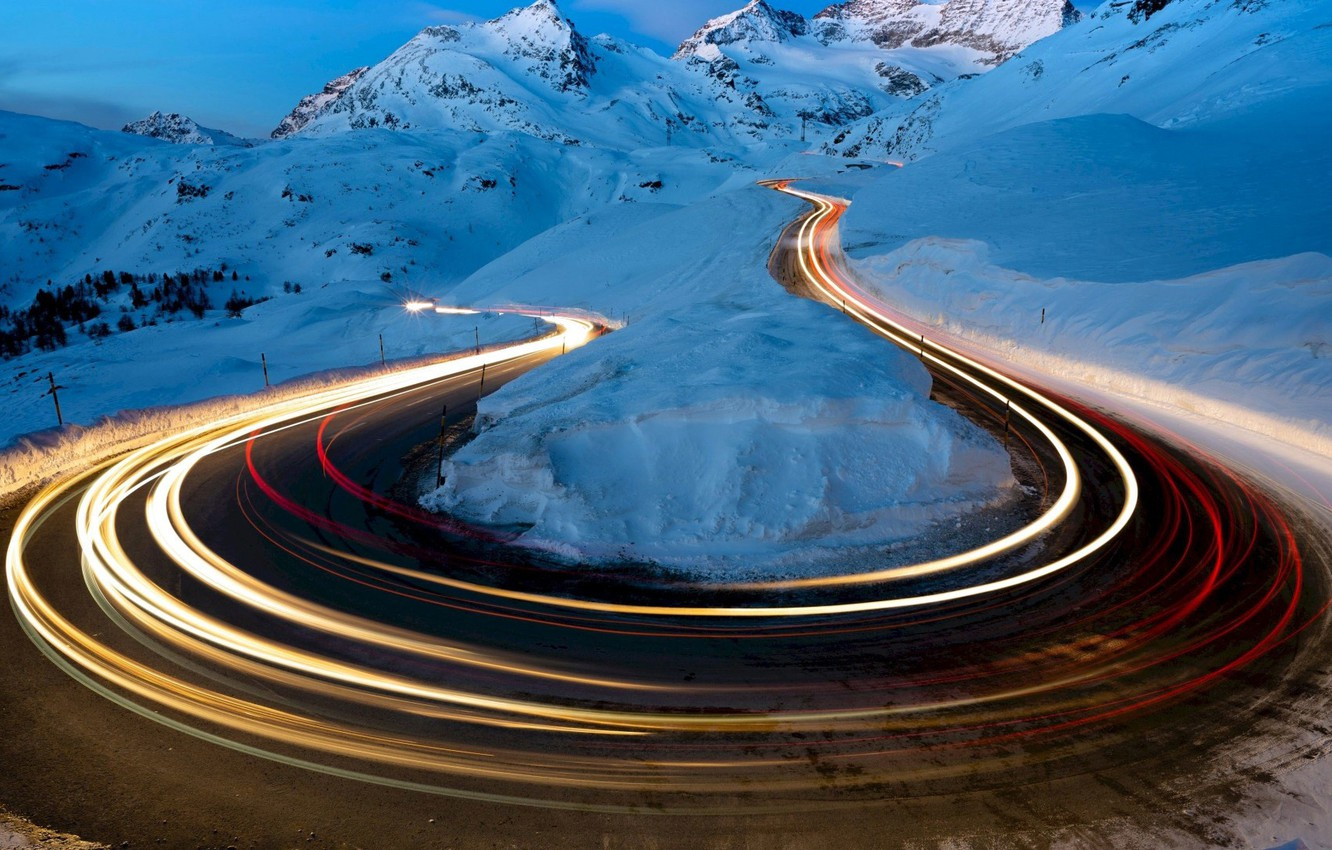 Photo wallpaper road, photography, landscape, nature, night, winter, snow, Mountains, long exposure, light trails