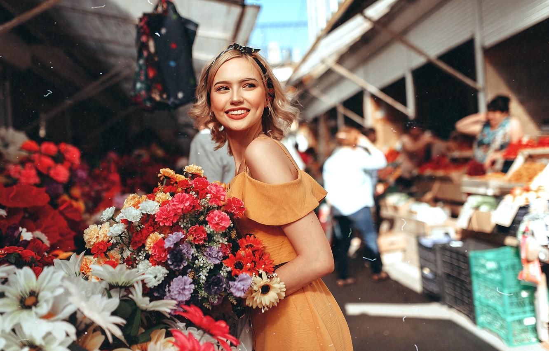 Photo wallpaper look, flowers, smile, Girl, Sasha Rusko, Anastasia Emelyanova
