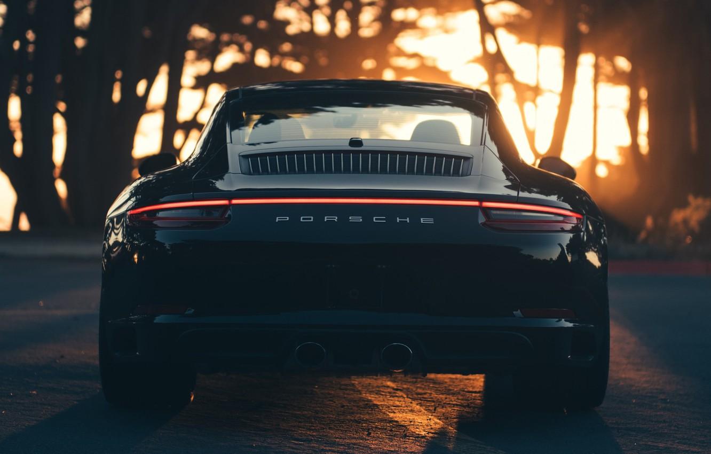 Photo wallpaper Sunset, Auto, Black, 911, Porsche, Machine, Carrera, Rear view, Porsche 911 Carrera S, Transport & …