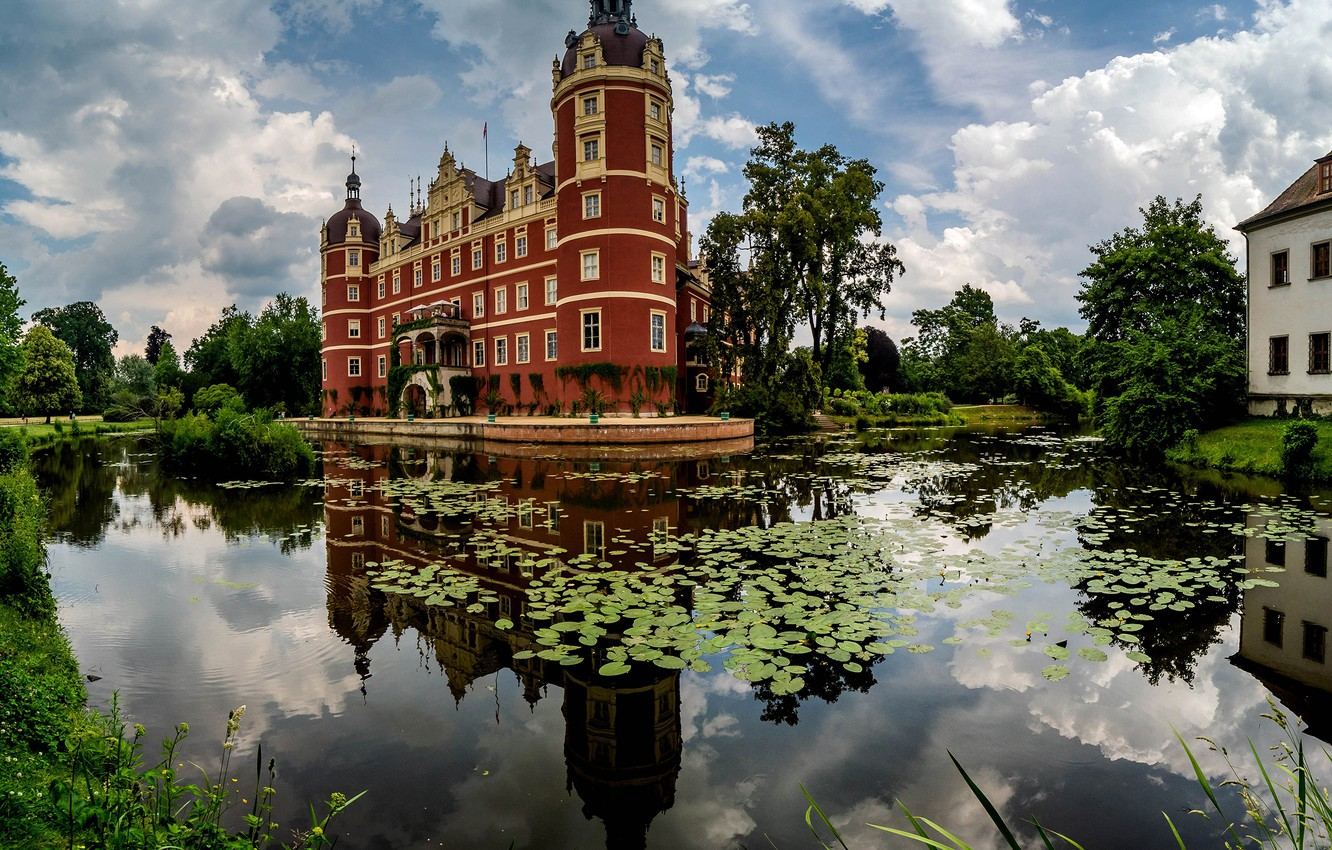Photo wallpaper greens, the sky, water, clouds, trees, nature, pond, Park, reflection, castle, Germany, duckweed, The Castle …