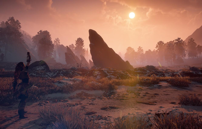 Photo wallpaper landscape, sunset, stones, postapokalipsis, stand, exclusive, Playstation 4, Guerrilla Games, Horizon Zero Dawn, Eloy