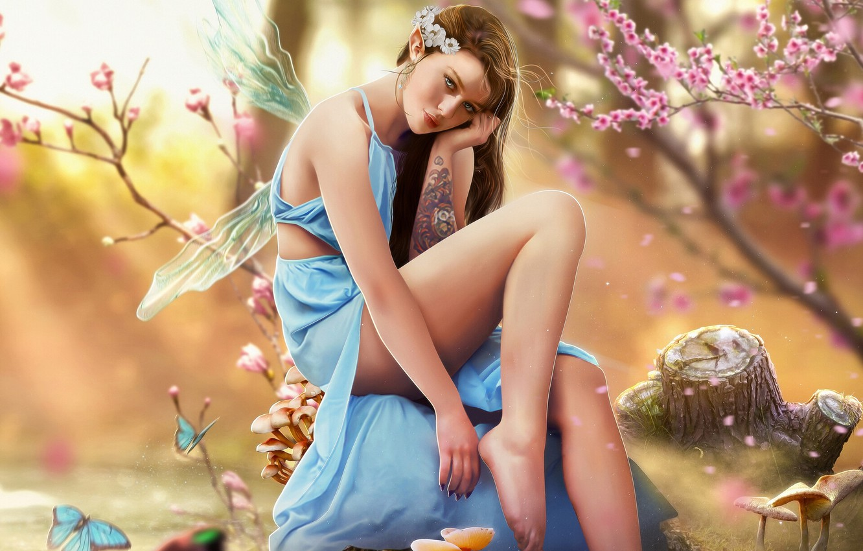 Photo wallpaper Girl, Style, Girl, Fairy, Tattoo, Fantasy, Tattoo, Art, Beautiful, Art, Style, Fiction, Fiction, Beautiful, Fairy, …