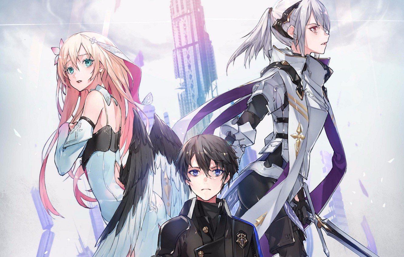 Photo wallpaper the sky, tower, wings, sword, costume, emblem, guy, blue eyes, characters, pink hair