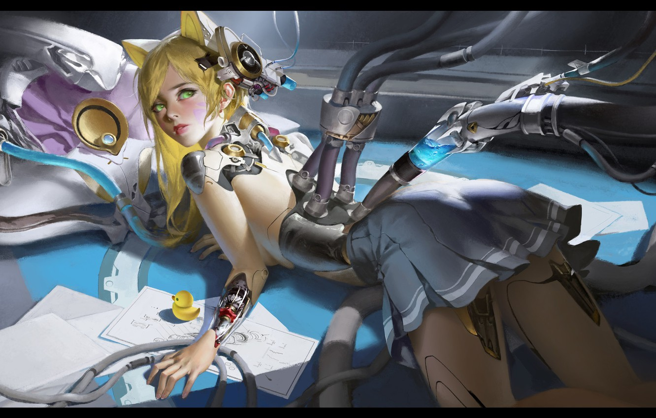 Photo wallpaper robot, anime, art, charging, LAO WANG, ARTWORK