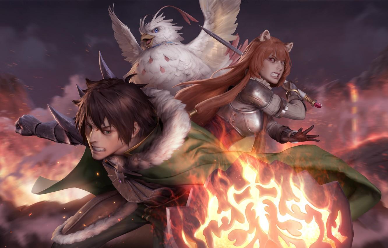 Wallpaper girl, bird, guy, The Rising of the Shield Hero ...