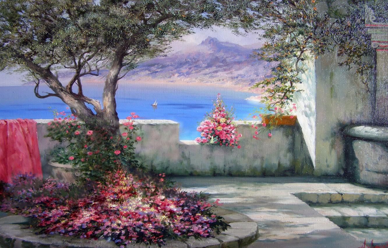 Photo wallpaper sea, nature, the city, sailboat, picture, Crimea, flowers., Gurzuf, Miliukov Alexander