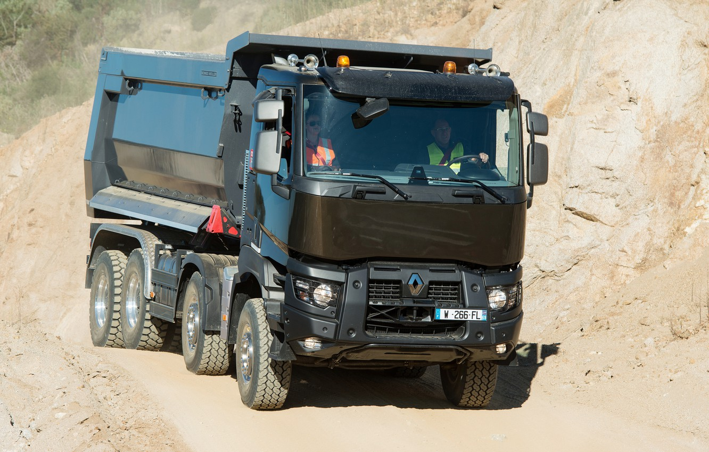 Photo wallpaper Renault, body, quarry, dump truck, four-axle, Renault Trucks, K-series