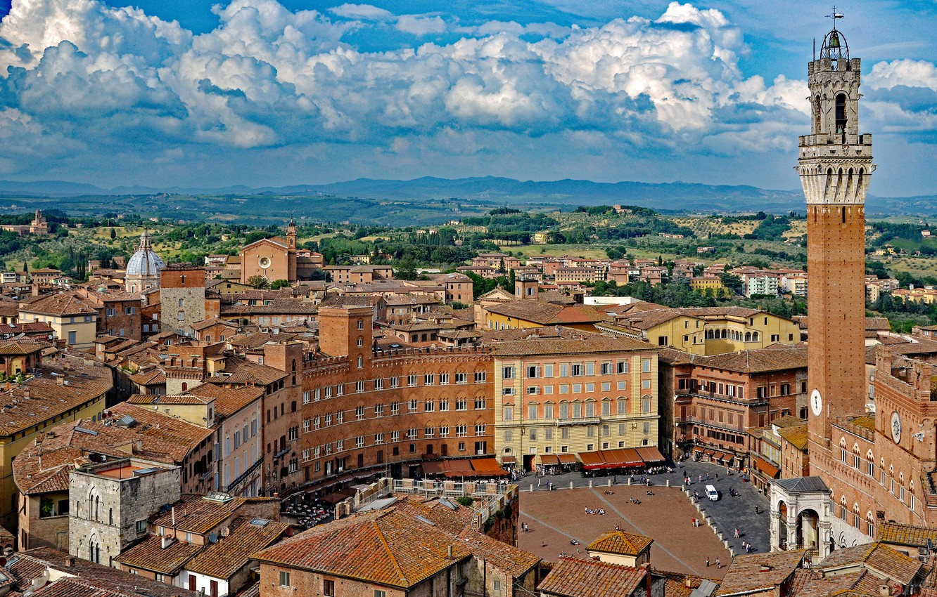 Photo wallpaper clouds, building, tower, home, area, Italy, panorama, Italy, Tuscany, Tuscany, Siena, Siena, The Piazza del …