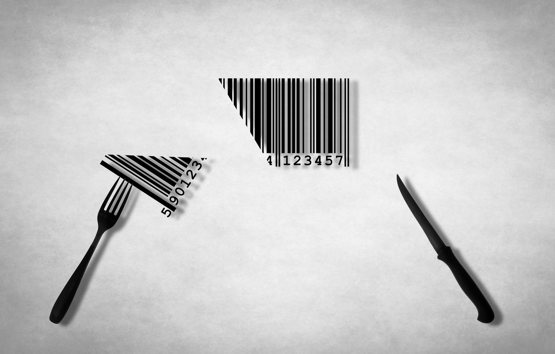 Photo wallpaper knife, plug, barcode