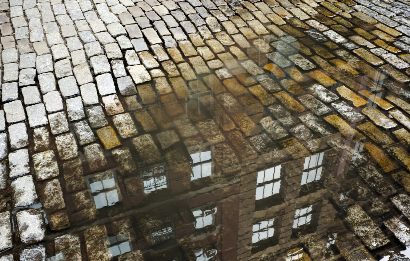 Photo wallpaper the city, street, puddle