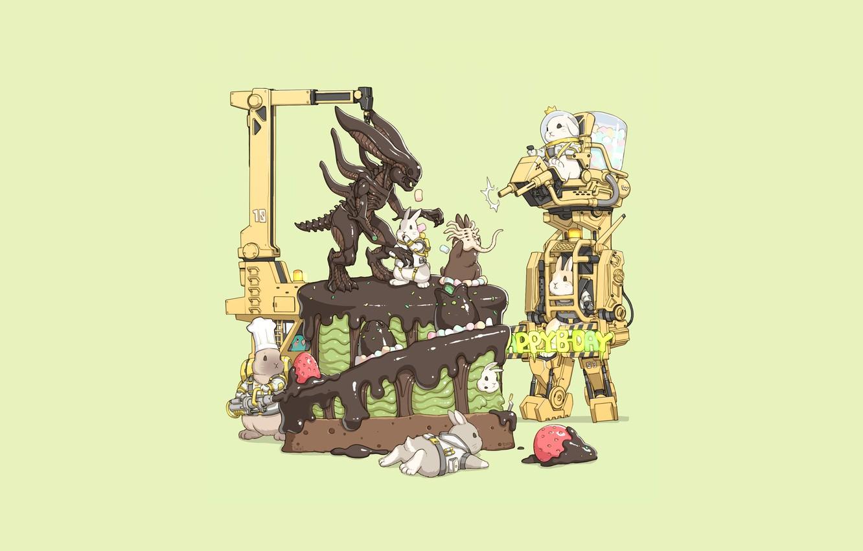 Photo wallpaper Fantasy, Art, Robots, Alien, Cake, Minimalism, Xenomorph, Characters, Bunny, Pie, Rabbits, Bunnies, Transport & Vehicles, …